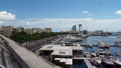 Barceloneta shot from History Museum of Barcelona Stock Footage