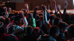 Concert hands The crowd jumps, rising hands and slams the artists on stage - stock footage