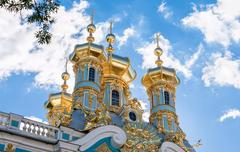 Golden domes of the Church in the Catherine Palace. Tsarskoye Selo, Russia - stock photo