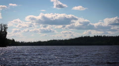 Extreme wide shot of lake in Quebec Stock Footage
