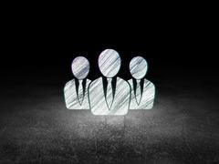 News concept: Business People in grunge dark room Stock Illustration