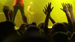 Concert hands Close-up of raised hands near the stage at a pop concert Stock Footage
