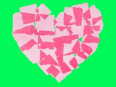 Heart paper abstact Isolated on green screen chroma key background. - stock illustration