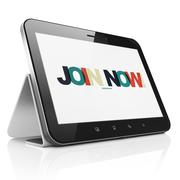 Stock Illustration of Social media concept: Tablet Computer with Join now! on  display