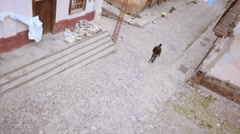 Man walking on colonial town Stock Footage