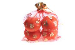 orange fruit of fortune in chinese new year celebration, isolated on white ba - stock photo