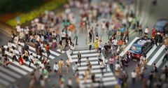 Shoppers on a Crossing in Shinjuku, Tokyo Tilt Shift Miniature looks, Time Lapse Stock Footage