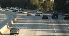Freeway with Cars Moving Away from Camera Stock Footage