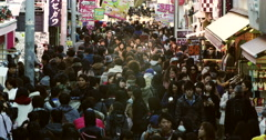 Crowds of Shoppers in the Takeshita dori of Harajuku, Time Lapse Stock Footage