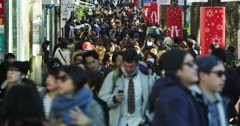 Crowds of Shoppers in Tokyo Harajuku Omote Sando Street, Time Lapse Stock Footage