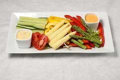 Rectangle vegetable plate - stock photo