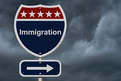Immigration this way sign Stock Photos
