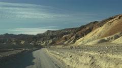Stock Video Footage of HIGHWAY, driving by desert mountains , Twenty Mule team road
