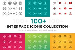 Outline vector UI technology icons set Stock Illustration