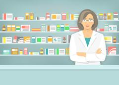 Flat style woman pharmacist at pharmacy opposite shelves of medicines - stock illustration