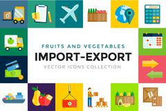 Import export fruits and vegetables delivery vector icons set - stock illustration
