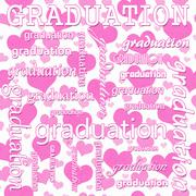 Graduation Design with Pink and White Hearts Tile Pattern Repeat Background - stock illustration