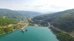 Zhinvali water-power plant Stock Footage