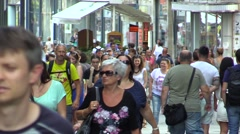 Walking people in center Brno Stock Footage