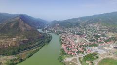 Aerial view of Mtskheta Stock Footage