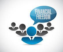 financial freedom teamwork sign concept - stock illustration