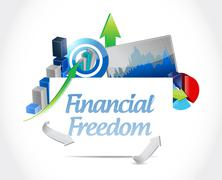 Stock Illustration of financial freedom business graph sign concept