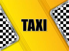 Abstract taxi advertising background with tire tread and metallic elements - stock illustration