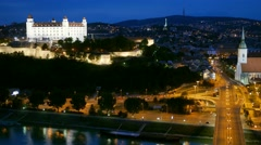Night view of old castle and old town. Bratislava, Slovakia. UHD, 4K - stock footage