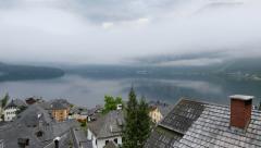 Foggy morning in Hallstatt - beauty of Alps. Austria Stock Footage