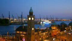 View of the Hamburg harbour after sunset, Germany Stock Footage