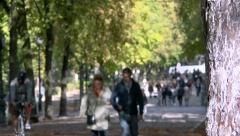 Anonymous couple & crowd walking in public park, gardens - sunny afternoon 3 Stock Footage