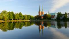 Lubeck old town, Cathedral and Trave river, Germany Stock Footage