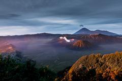 morning sun light on Bromo volcano, Indonesia - stock photo