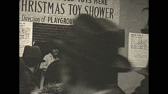 Vintage 16mm film, Philadelphia 1932, Christmas toy shower women dolls Stock Footage