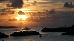 Jupiter Inlet Sunrise Boat Fishing Stock Footage