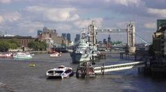 HMS Belfast & Tower Bridge (in 4k), London, UK. Stock Footage