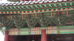 Ornate Decorations On Rooftop The Changdeokgung Palace South Korea - stock footage