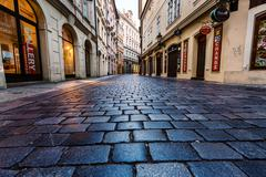 Night streets of Prague. - stock photo