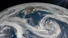 The hurricane over the earth., satellite view. Stock Footage