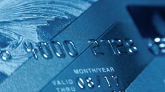 Plastic credit cards to withdraw money from a bank account Stock Footage