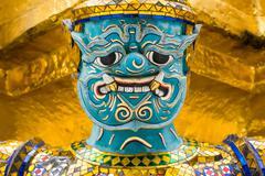 Close Up of Guardian Demon at Grand Palace in Bangkok, Thailand Stock Photos