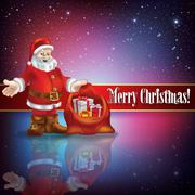 Stock Illustration of celebration greeting with Santa Claus and snowflakes