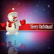 celebration greeting with snowman and snowflakes - stock illustration