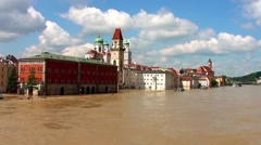 He flood of the century in Passau, Germany Stock Footage