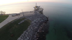 Drone flying away from The Burlington Pier Stock Footage