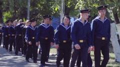 Children sailors marching detachment of sailors slow motion - stock footage