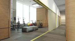 Sport interior room flytrough Stock Footage