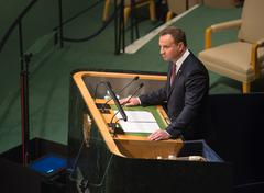 President of Poland Andrzej Duda on 70th session of UN - stock photo