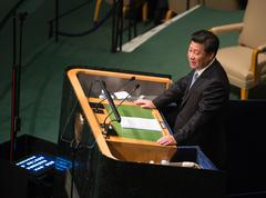 Xi Jinping on 70th session of the UN General Assembly - stock photo