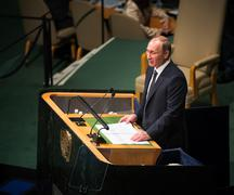 Vladimir Putin on 70th session of the UN General Assembly - stock photo